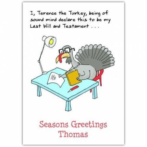 Seasons Greetings From A Turkey Card