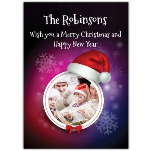 A Family Wish You A Merry Christmas And A Happy New Year Card