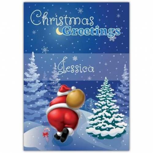 Santa In The Snowy Trees Christmas Greetings Card