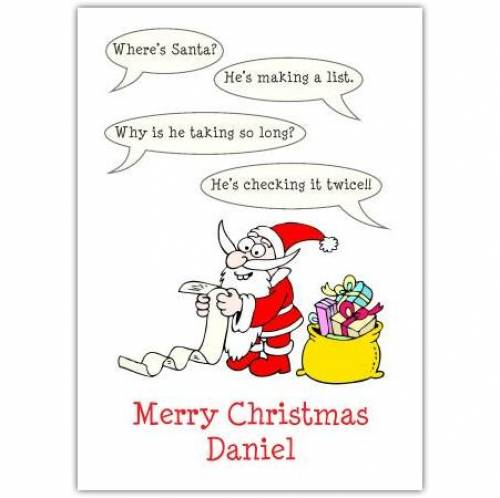 Speech Bubble Why Is He Taking So Long Merry Christmas Card