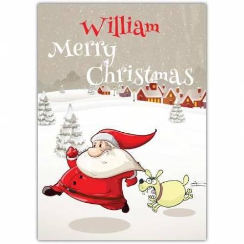 Dog Chasing Santa Merry Christmas Card