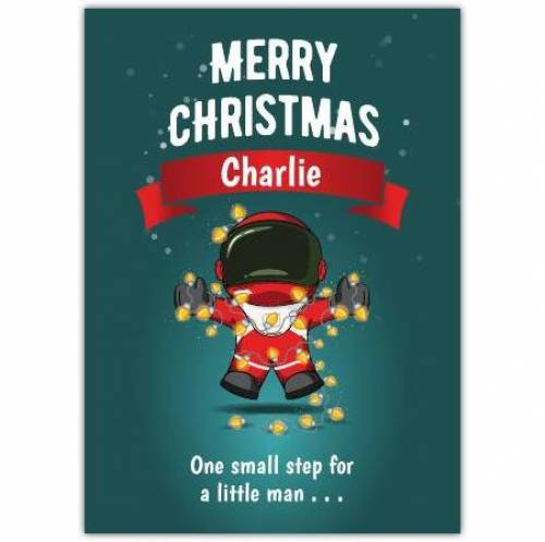 One Small Step Spaceman And Lights Merry Christmas Card
