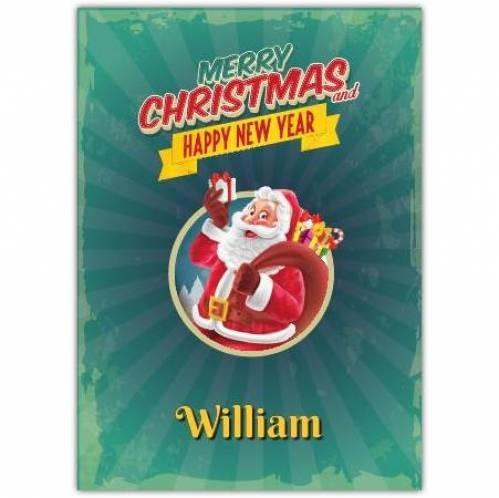 Santa Green Merry Christmas And Happy New Year Card