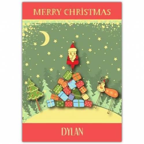 Santa Tree Of Presents Merry Christmas Card