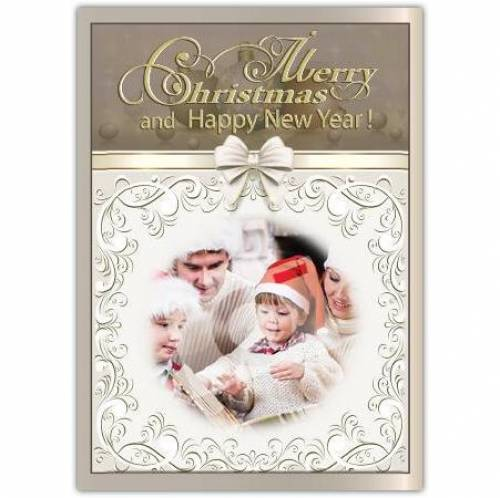 White Bow Merry Christmas And Happy New Year Card