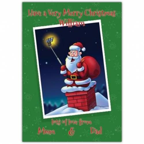 Selfie Santa Claus Merry Christmas Card