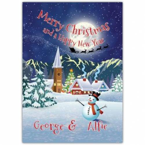 Snowman And Santas Sleigh Merry Christmas And Happy New Year Card