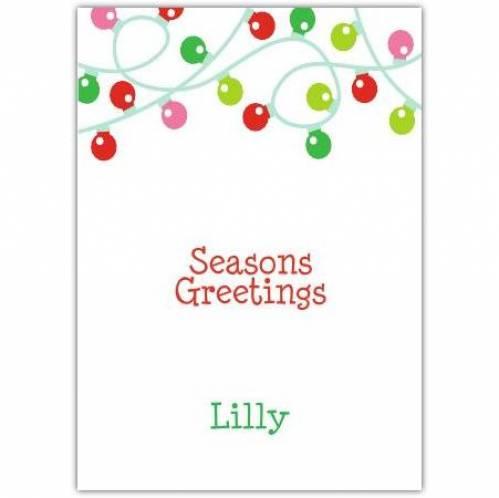 Coloured Lights Seasons Greetings Card