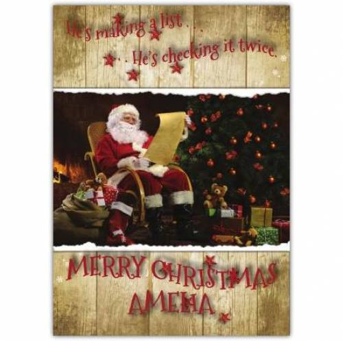 He's Making A List And Checking It Twice Merry Christmas Card