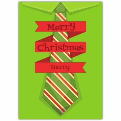 Green Striped Tie Merry Christmas Card