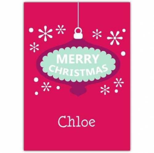 Purple Bauble Merry Christmas Card