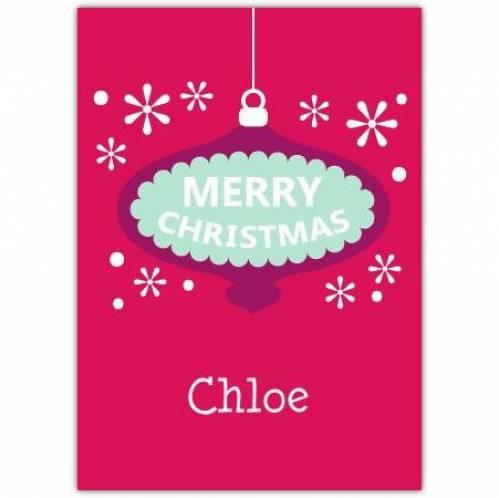 Purple Bauble Merry Christmas Card