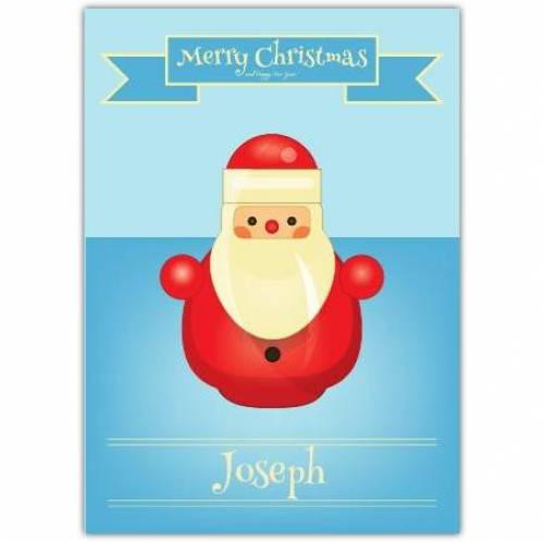 Wooden Toy Santa Merry Christmas Card