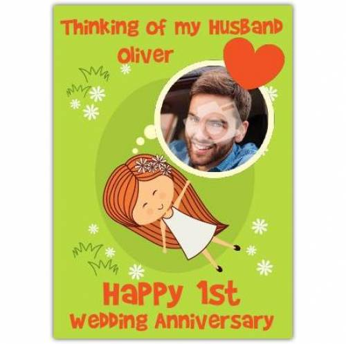 Thinking Of My Husband On Paper 1st Wedding Anniversary Card