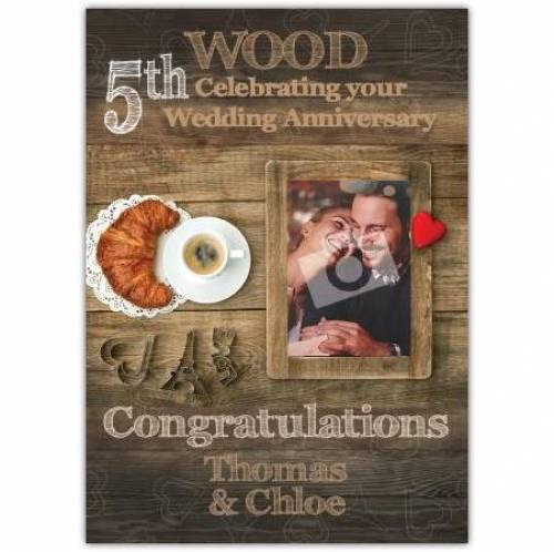 To Couple Congratulations On Your Wood 5th Wedding Anniversary Card