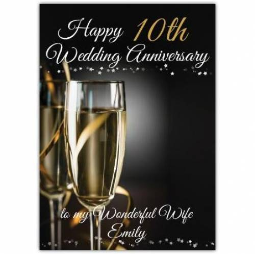 To My Wonderful Wife On Out Tin Aluminum 10th Wedding Anniversary Card