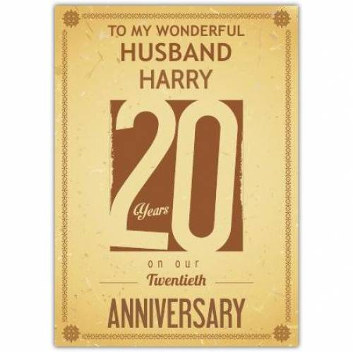 To My Wonderful Husband On Our China 20th Wedding Anniversary Card