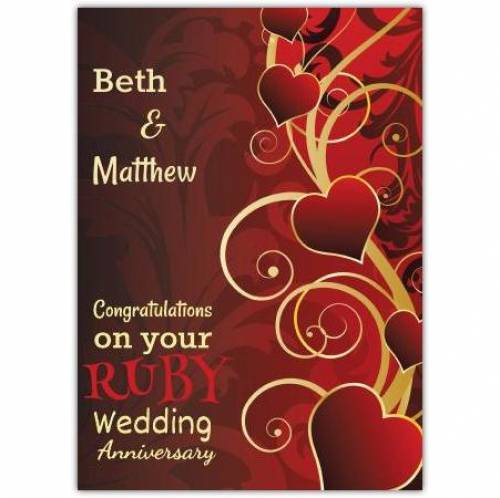 Congratulations On Your Ruby 40th Wedding Anniversary Card
