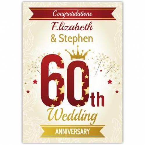 Congratulations Couple On Diamond 60th Wedding Anniversary Card