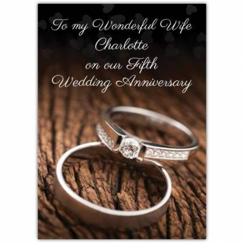 To My Wonderful Wife On Our Wood 5th Wedding Anniversary Card