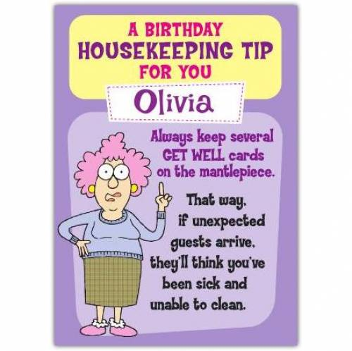 Aunty Acid Housekeeping Tip Birthday Card