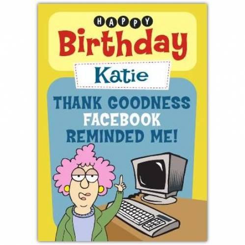 Aunty Acid Facebook Reminded Me Birthday Card