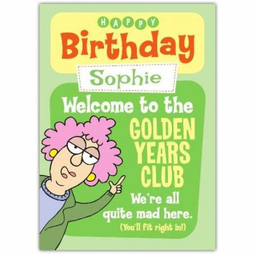 Aunty Acid Welcome To The Club Birthday Card