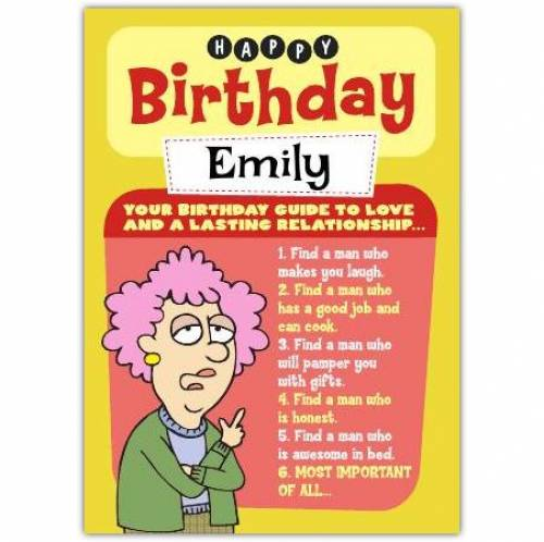 Aunty Acid Guide To Love And Relationships Birthday Card