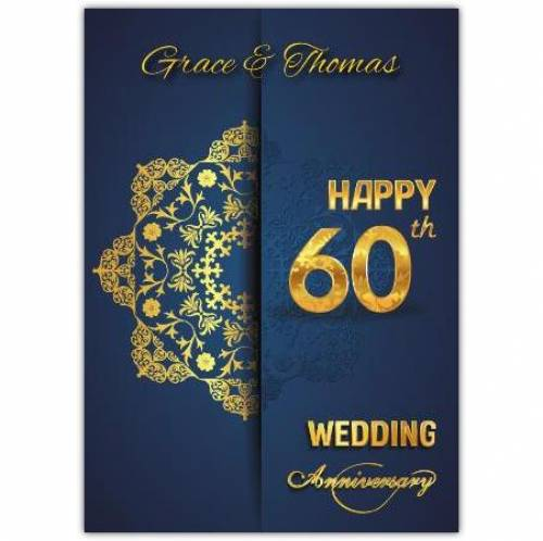 Diamond 60th Happy Anniversary Card