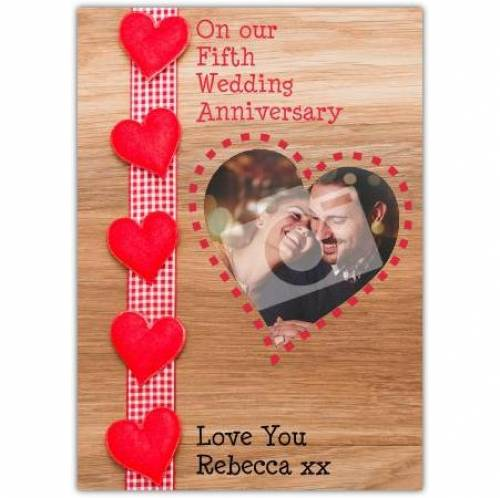 Wood On Our 5th Wedding Anniversary Card