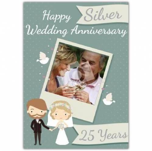 Silver 25th Happy Anniversary Card