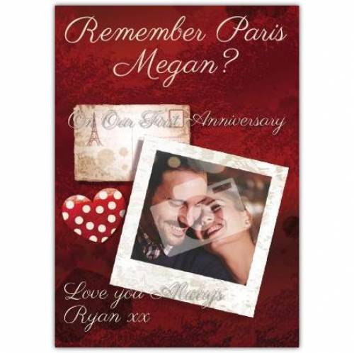 Remember Paris First Wedding Anniversary Card