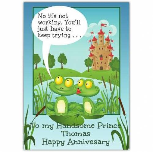 Kissing Frogs Happy Anniversary Card