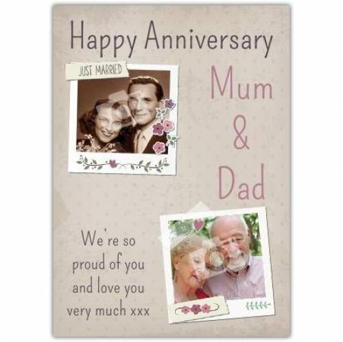 Mum And Dad Proud Of You Happy Anniversary Card