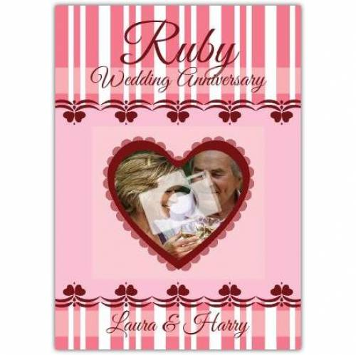 Heart Ruby 40th Wedding Anniversary Card