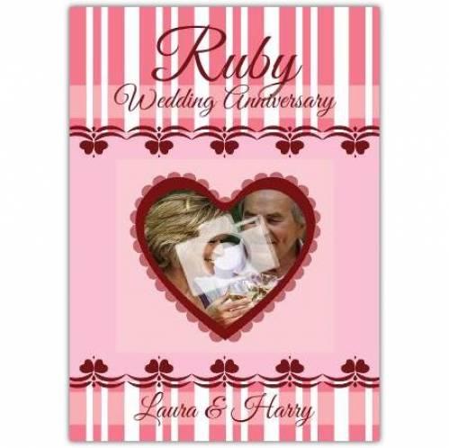 Heart Ruby 40th Wedding Anniversary Card