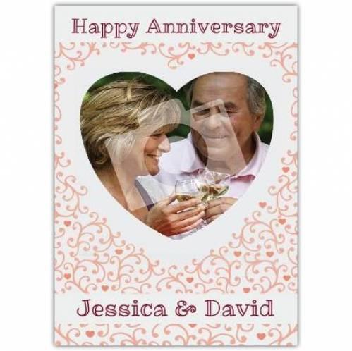 Anniversary-photo Heart Shaped Card