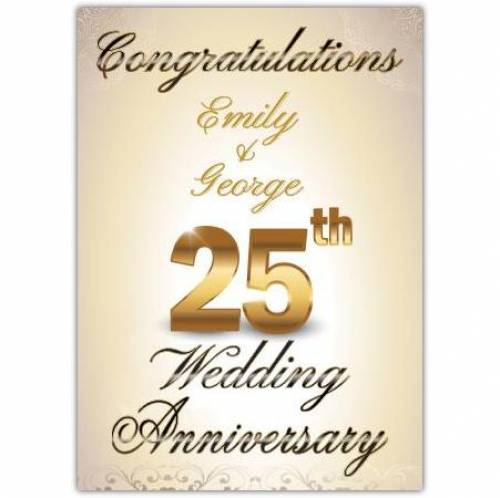 Congratulations -25th Wedding Anniversary Card