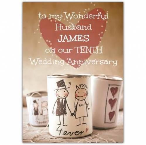 Tenth Wedding Anniversary-To My Husband Card