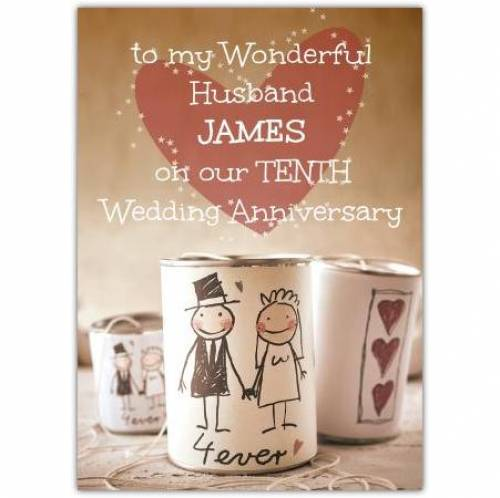 Tenth Wedding Anniversary-To My Husband Card