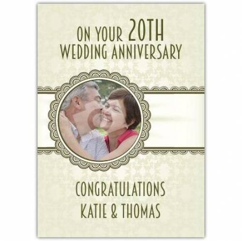 20th Wedding Anniversary Card