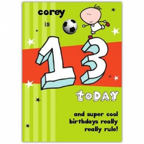 Super Cool Happy 13th Birthday Card