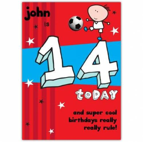 Super Cool Happy 14th Birthday Card