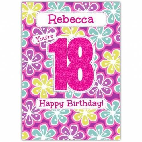 Floral Happy 18th Birthday Card
