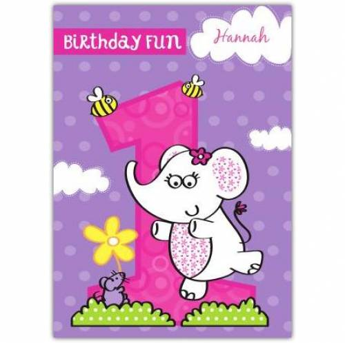 Birthday Fun Happy 1st Birthday Girl Card
