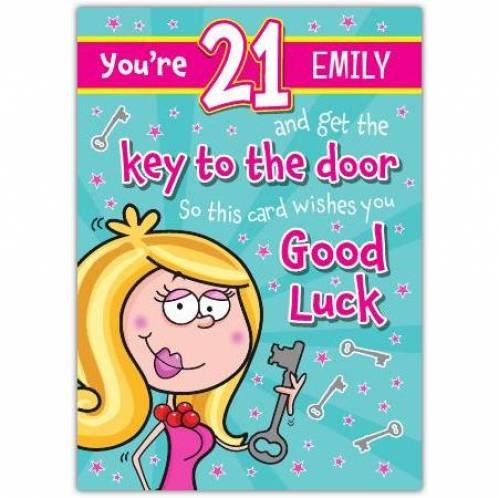 Key Of The Door Female Happy 21st Birthday Card