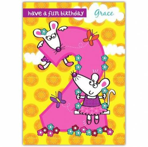 Mice Happy 2nd Birthday Card