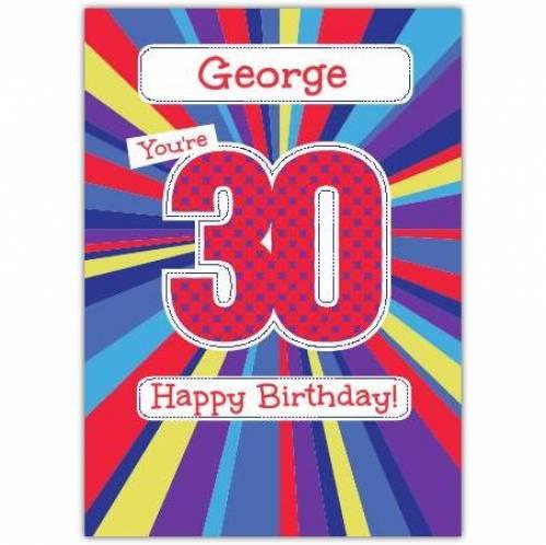 Retro Happy 30th Birthday Card