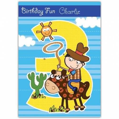 Cowboy Happy 3rd Birthday Card