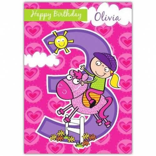 Cowgirl Happy 3rd Birthday Card